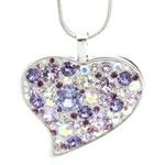 Náhrdelník s krystaly Swarovski Heart Crystal Violet