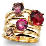 Prsten s krystaly Swarovski Oliver Weber Duo Red