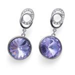 Náušnice s krystaly Swarovski Oliver Weber Rivoli violet 22710-371