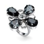 Prsten s krystaly Swarovski Oliver Weber Ring Jazzy black 41143-BLA