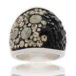 Prsten s krystaly Swarovski Black Diamond Cosmos Exkluzive