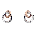 Støíbrné náušnice Hot Diamonds Eternity Interlocking Rose Gold Stud DE309