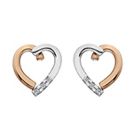 Stříbrné náušnice Hot Diamonds Glide Heart Rose Gold