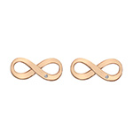 Stříbrné náušnice Hot Diamonds Infinity Rose Gold