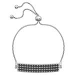 Stříbrný náramek Hot Diamonds Crystal Triple Row Black