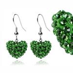 Ocelové náušnice s krystaly Heart Green