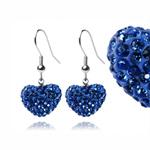 Ocelové náušnice s krystaly Heart Blue