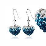 Ocelové náušnice s krystaly Heart Blue White