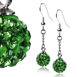Ocelové náušnice s krystaly Ball Green