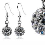 Ocelové náušnice s krystaly Balls White