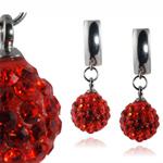 Ocelové náušnice s krystaly Balls Red