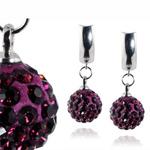 Ocelové náušnice s krystaly Balls Violet