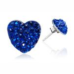 Ocelové náušnice s krystaly Hearts Blue