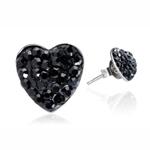 Ocelové náušnice s krystaly Hearts Black