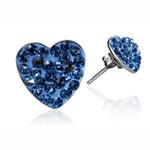 Ocelové náušnice s krystaly Hearts Sapphire