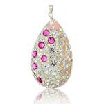St��brn� p��v�sek s krystaly Swarovski Floral Drop