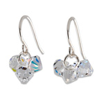 Stříbrné náušnice s krystaly Swarovski Bicone Crystal