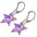 Stříbrné náušnice s krystalem Swarovski Star Rosaline