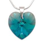 Stříbrný náhrdelník s krystalem Swarovski Blue Zircon