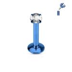 Piercing do brady modrý, čirý kamínek LB01081B