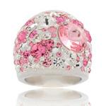 Prsten s krystaly Swarovski Pink Cosmos Exkluzive