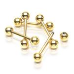 Pozlacený piercing do jazyka PJ01056