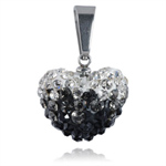 Ocelový přívěsek s krystaly Heart Black White