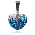 Ocelový přívěsek s krystaly Heart Blue White