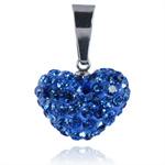 Ocelový přívěsek s krystaly Heart Blue