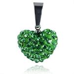 Ocelový přívěsek s krystaly Heart Green