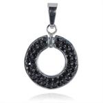 Ocelový přívěsek s krystaly Circle Black
