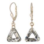 Stříbrné náušnice s krystaly Swarovski Cosmic Triangle Crystal