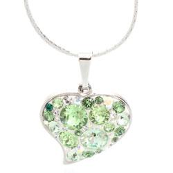 Náhrdelník s krystaly Swarovski Heart Peridot