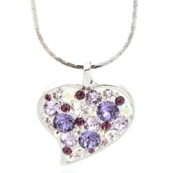 Náhrdelník s krystaly Swarovski Heart Violet