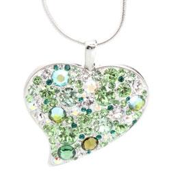 Náhrdelník s krystaly Swarovski Heart Crystal Peridot