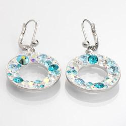 Náušnice s krystaly Swarovski Circle Aqua