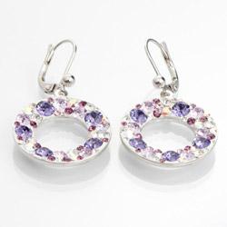 Náušnice s krystaly Swarovski Circle Violet