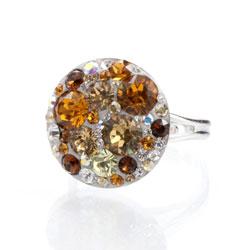 Prsten s krystaly Swarovski Rivoli Topaz