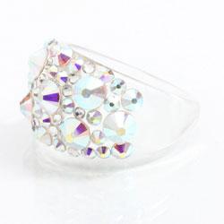 Prsten s krystaly Swarovski Plastic Rainbow