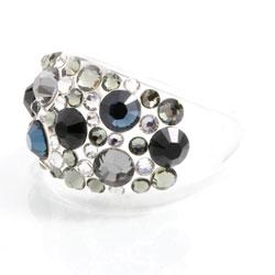 Prsten s krystaly Swarovski Plastic Black Diamond