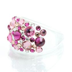 Prsten s krystaly Swarovski Plastic Fuchsia