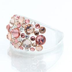 Prsten s krystaly Swarovski Plastic Peach