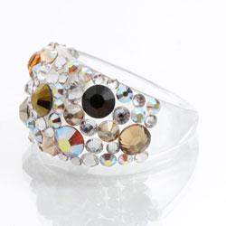 Prsten s krystaly Swarovski Plastic Topaz