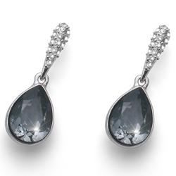 Náušnice s krystaly Swarovski Oliver Weber Reach Silver Night