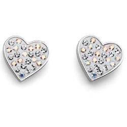 Náušnice s krystaly Swarovski Oliver Weber Lucky Heart Crystal AB