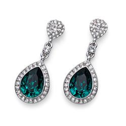 Naušnice s krystaly Swarovski Oliver Weber Power Emerald