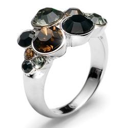 Prsten s krystaly Swarovski Oliver Weber Plural Black