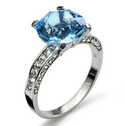 Prsten s krystaly Swarovski Oliver Weber Princess Aqua