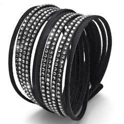 Náramek Oliver Weber s krystaly Swarovski Double Cut Black