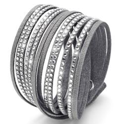 Náramek Oliver Weber s krystaly Swarovski Double Cut Grey